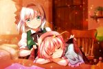 2girls black_bow blanket blouse blue_blouse blue_eyes bob_cut bow bowtie closed_eyes covering green_vest hair_ornament hairband heart heart_hair_ornament highres komeiji_satori konpaku_youmu multiple_girls pink_hair sakura_tsubame short_hair silver_hair sleeping touhou vest