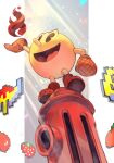 8-bit big_eyes black_eyes boots fire fire_hydrant food fruit gloves hankuri hankuri long_nose looking_up nose open_mouth pac-man pac-man_(game) smile solo strawberry sunlight tongue