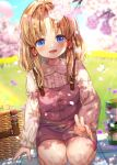 1girl alternate_costume basket blanket blonde_hair blue_eyes blurry blurry_background blush bug butterfly casual cherry_blossoms contemporary dappled_sunlight day grass hair_ribbon head_tilt highres insect long_hair long_sleeves looking_at_viewer moriya_suwako nora_wanko outdoors overalls parted_lips picnic picnic_basket red_ribbon ribbon shirt sidelocks sitting smile solo sunlight suspenders thermos touhou tress_ribbon white_shirt