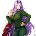 1girl breasts cosplay cowboy_shot eyebrows_visible_through_hair eyes_visible_through_hair facial_mark fate/grand_order fate_(series) flying_sweatdrops forehead_mark green_pants green_shirt large_breasts long_hair necktie pants pink_eyes pink_hair rider shirt signature solo stole striped striped_neckwear very_long_hair waver_velvet waver_velvet_(cosplay) zyunya