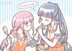 2girls apron artist_name blue_hair blush closed_eyes cooking english_text finger_sucking half_updo long_hair magia_record:_mahou_shoujo_madoka_magica_gaiden mahou_shoujo_madoka_magica measuring_cup multiple_girls nanami_yachiyo pink_hair school_uniform studiozombie tamaki_iroha whisk yuri