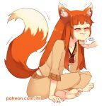 1girl animal_ears barefoot closed_mouth fang holo indian_style long_hair orange_hair patreon_username rtil scratching_chin simple_background sitting smile soles solo_focus spice_and_wolf tail watermark web_address wolf_ears wolf_girl wolf_tail