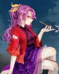 1girl absurdres blowing_smoke crossed_legs fan folding_fan from_side highres holding holding_pipe hoshiringo0902 japanese_clothes kimono kiseru komakusa_sannyo lipstick looking_at_viewer looking_to_the_side makeup nail_polish pipe profile purple_skirt red_eyes red_kimono red_nails red_robe ribbon signature simple_background skirt smoke smoking solo tobacco touhou unconnected_marketeers yellow_ribbon
