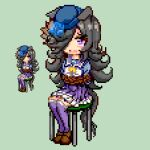 1girl bangs black_hair blue_flower blue_headwear blue_rose blue_shirt bound brown_footwear commentary_request flower frilled_skirt frills green_background hair_over_one_eye hat hat_flower keykey117117 long_hair lowres open_mouth over-kneehighs pixel_art pleated_skirt puffy_short_sleeves puffy_sleeves purple_legwear purple_skirt rice_shower_(umamusume) rope rose school_uniform shirt shoes short_sleeves simple_background sitting skirt stool thigh-highs tied_up tilted_headwear tracen_school_uniform umamusume very_long_hair violet_eyes zoom_layer