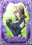 1girl animal black_gloves blue_eyes braid brooch cat day flower gloves hair_ribbon highres holding holding_animal holding_cat jewelry kaku10 light_brown_hair long_sleeves medium_hair open_mouth outdoors profile red_ribbon ribbon solo upper_body violet_evergarden violet_evergarden_(character)