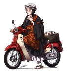 1boy alternate_costume closed_mouth commentary_request crate goggles grey_eyes grey_hair ground_vehicle hand_up heart helmet holding japanese_clothes kabu_(pokemon) male_focus motor_vehicle nitaimoimo pokemon pokemon_(game) pokemon_swsh riding sandals short_hair simple_background sitting smile solo tabi tire white_background white_headwear white_legwear