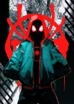 1boy black_bodysuit bodysuit covered_face facing_viewer green_jacket hands_in_pockets highres hironakata hood hood_up hooded_bodysuit hoodie jacket looking_at_viewer male_focus mask miles_morales red_hoodie solo spider-man:_into_the_spider-verse spider-man_(miles_morales) spider-man_(series) spider_web_print superhero