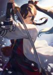 1boy bangs black_hair black_sash blue_eyes bottle coat cowboy_shot fighting_stance hair_between_eyes hair_ornament hair_stick haori high_ponytail highres holding holding_sword holding_weapon japanese_clothes katana kimono long_hair mashuu_(neko_no_oyashiro) original petals ponytail red_kimono sake_bottle sash sidelocks solo sword umbrella weapon white_coat