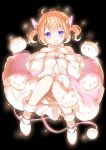 >_< 1girl :o angora_rabbit april_fools bangs bare_legs bare_shoulders black_background blush boots bow breasts demon_girl demon_horns demon_tail dress evil_smile expressions eyebrows_visible_through_hair fang fur-trimmed_boots fur-trimmed_dress fur_choker fur_trim glowing glowing_horns gochuumon_wa_usagi_desu_ka? grin hands_on_own_chest highres horn_ornament horn_ribbon horns hoto_cocoa koi_(koisan) long_hair looking_at_viewer medium_breasts no_legwear orange_hair orange_theme pink_horns pink_tail pink_theme rabbit ribbon simple_background smile solo sparkle tail teeth tippy_(gochiusa) too_many two_side_up violet_eyes white_bow white_dress white_footwear