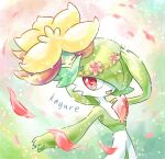 1girl ^_^ arm_up artist_name bangs bob_cut closed_eyes closed_mouth colored_skin commentary_request flat_chest floating flower flower_wreath full_body gardevoir gen_3_pokemon gen_8_pokemon gossifleur green_hair green_skin hair_flower hair_ornament hair_over_one_eye happy highres kagure_(karaguren) looking_to_the_side multicolored multicolored_skin open_mouth orange_flower outstretched_arm petals pink_flower pokemon pokemon_(creature) red_eyes short_hair signature smile solo_focus standing two-tone_skin upper_body white_skin