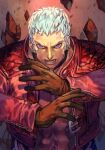 1boy abs brown_gloves choker cropped_jacket earrings gloves hungry_clicker jacket jewelry long_sleeves looking_at_viewer muscular muscular_male nanakase_yashiro pectorals red_jacket short_hair sleeves solo the_king_of_fighters the_king_of_fighters_xv white_hair