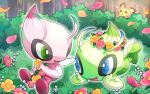 ? alternate_color antennae black_sclera blue_eyes blush_stickers bush celebi colored_sclera commentary day eye_contact fairy fairy_wings flower flower_wreath foot_up forest full_body gen_2_pokemon green_eyes hands_up happy head_rest holding holding_flower jpeg_artifacts legendary_pokemon looking_at_another lying mobbbt mythical_pokemon nature on_stomach open_mouth orange_flower outdoors outline petals pichu pink_flower pokemon pokemon_(creature) shiny_pokemon sitting smile tree white_eyes white_flower white_outline wings