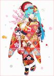 1girl :d aqua_hair bangs black_legwear blue_eyes blue_hair blush bonnet branch eyebrows_visible_through_hair floral_print flower frilled_kimono frilled_sleeves frills full_body gradient_hair hair_between_eyes hakusai_(tiahszld) hand_up hatsune_miku highres japanese_clothes kimono long_hair long_sleeves multicolored_hair open_mouth pink_flower platform_footwear print_kimono red_footwear red_headwear revision shirt sleeves_past_wrists smile socks solo tabi twintails vocaloid white_background white_shirt wide_sleeves