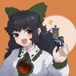 1girl bangs banner bigcat_114514 black_hair blouse blush bow buttons collared_blouse commentary english_commentary eyebrows_visible_through_hair figure green_bow hair_bow highres holding long_hair long_sleeves looking_at_viewer open_mouth orange_background red_eyes reiuji_utsuho solo third_eye touhou ultramarines upper_body warhammer_40k wavy_hair white_blouse
