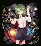 1girl antennae bangs baton_(instrument) black_background black_shorts blouse bug butterfly cape collared_blouse dragonfly eyebrows_visible_through_hair fireflies firefly green_eyes green_hair hand_up hisona_(suaritesumi) insect long_sleeves looking_at_viewer open_mouth short_hair shorts solo swept_bangs touhou two-sided_cape two-sided_fabric white_blouse wriggle_nightbug