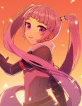 1girl :d bangs black_gloves floating_hair from_side gloves hair_tubes highres long_hair open_mouth pink_hair shiny shiny_hair smile solo sophie_(tales) standing tales_of_(series) tales_of_graces usatarou_(annke-to) very_long_hair violet_eyes