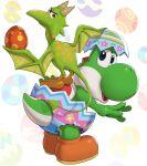 1girl banjo-kazooie blue_eyes crossover dinosaur dragon egg gonzarez green_eyes highres kazooie_(banjo-kazooie) looking_at_viewer mario_(series) no_humans pointy_ears simple_background smile super_mario_world super_smash_bros. wings yoshi