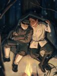 2boys arm_around_shoulder black_footwear black_hair coat crossed_arms dark_skin dark_skinned_male facial_hair fire forest golden_kamuy hat highres kepi koito_otonoshin long_sleeves male_focus military military_hat military_uniform multiple_boys nature night outdoors sleeping snowing stubble thick_eyebrows tsukishima_hajime uniform zhege_qiongsi_bu_tai_leng