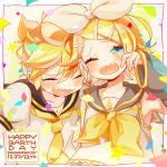 1boy 1girl anniversary aqua_eyes ascot bangs bare_shoulders bass_clef blonde_hair blush bow brother_and_sister closed_eyes confetti detached_sleeves fang hair_bow hair_ornament hairclip happy happy_birthday headphones headset heart highres kagamine_len kagamine_rin laughing necktie nokodaru_marin one_eye_closed open_mouth sailor_collar shirt short_sleeves siblings sleeveless sleeveless_shirt star_(symbol) swept_bangs tearing_up treble_clef twins vocaloid white_background yellow_nails yellow_neckwear