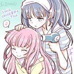 2girls artist_name blue_hair drying drying_hair hair_dryer long_hair magia_record:_mahou_shoujo_madoka_magica_gaiden mahou_shoujo_madoka_magica multiple_girls musical_note nanami_yachiyo pink_hair smile spoken_musical_note studiozombie tamaki_iroha