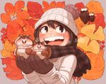 1girl autumn_leaves beanie black_eyes black_hair blush chipmunk coat ginkgo_leaf gloves grey_background hands_up hat knit_hat kohei_nakaya long_hair long_sleeves nut_(food) open_mouth original plaid plaid_scarf scarf smile solo squirrel upper_body white_coat white_headwear