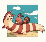 brown_eyes closed_eyes closed_mouth clouds from_side furret gen_2_pokemon grass looking_back no_humans open_mouth panmimi paws pokemon pokemon_(creature) riding_pokemon sentret sky toes