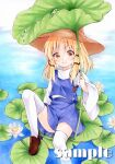 1girl :3 bangs blonde_hair brown_footwear brown_headwear closed_mouth commentary_request day eyebrows_visible_through_hair flat_chest flower foot_out_of_frame hat highres holding_plant light_blush lily_pad long_hair long_sleeves looking_at_viewer lotus marker_(medium) moriya_suwako outdoors parted_bangs purple_skirt purple_vest sample sitting skirt smile solo thigh-highs touhou traditional_media turtleneck vest water white_flower white_legwear wide_sleeves yellow_eyes yuiki_(cube)