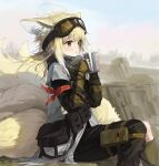 1girl :o animal_ears arknights arm_ribbon asymmetrical_clothes black_pants black_scarf blonde_hair blush brown_eyes brown_legwear cup day feet_out_of_frame fox_ears fox_girl fox_tail goggles goggles_on_head holding holding_cup kneehighs layered_sleeves long_hair long_sleeves looking_afar multiple_tails official_alternate_costume open_mouth outdoors pants pouch red_ribbon ribbon rock scarf single_pantsleg sitting sleeves_past_wrists solo steam suzuran_(arknights) suzuran_(lostlands_flowering)_(arknights) tail wasabi60
