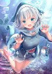 1girl :d air_bubble barefoot bloop_(gawr_gura) blue_eyes blue_hair blue_hoodie blue_nails breasts bubble claw_pose collarbone commentary_request day drawstring fish_tail gawr_gura hands_up highres hololive hololive_english hood hood_up hoodie long_sleeves looking_at_viewer multicolored_hair nail_polish open_mouth outdoors revision shark_tail sharp_teeth shirakawako small_breasts smile soles streaked_hair tail teeth underwater virtual_youtuber water