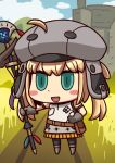 1girl ahoge april_fools artoria_pendragon_(all) artoria_pendragon_(caster)_(fate) belt blonde_hair blush_stickers brown_gloves chibi clouds fate/grand_order fate_(series) gloves green_eyes hat highres holding holding_staff official_art open_mouth riyo_(lyomsnpmp) smile solo staff