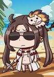 1girl ahoge april_fools beach bikini chibi clouds earrings fate/grand_order fate_(series) highres holding holding_spear holding_weapon jewelry leaf multiple_earrings navel official_art polearm riyo_(lyomsnpmp) robe smile solo spear sunglasses swimsuit twintails water weapon white_bikini white_robe yu_mei-ren_(fate) yu_mei-ren_(swimsuit_lancer)_(fate)