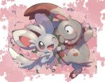 ;d blush brown_eyes bunnelby commentary_request eye_contact gen_5_pokemon gen_6_pokemon happy highres looking_at_another minccino nullma one_eye_closed open_mouth paws pokemon pokemon_(creature) shiny smile toes tongue
