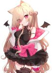 1girl :c absurdres animal_ears argyle bat_wings black_choker black_legwear black_skirt blush bow breasts brown_hair cat_ears choker closed_mouth cowboy_shot cross-laced_clothes floral_print frilled_skirt frills garter_straps hair_over_one_eye hair_ribbon hand_on_own_cheek hand_on_own_face hand_up high_collar highres hinakano_h holding holding_hair jacket layered_skirt leg_garter long_hair long_sleeves looking_at_viewer multicolored_hair off_shoulder open_clothes open_jacket original pink_bow pink_eyes pink_hair ribbon shirt simple_background skirt sleeveless sleeveless_shirt small_breasts solo strap_slip streaked_hair thigh-highs very_long_hair white_background white_jacket wings zettai_ryouiki
