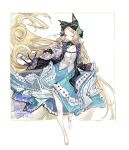 1girl animal_ears arknights bangs bare_legs barefoot black_bow black_jacket blonde_hair blue_nails blue_skirt bow cat_ears closed_eyes curly_hair detached_collar floating_hair framed frilled_skirt frilled_sleeves frills full_body hair_bow highres iris_(arknights) jacket layered_skirt long_hair long_skirt nail_polish open_clothes open_jacket outside_border parted_bangs pipidan skirt skirt_hold solo very_long_hair vest white_background white_vest