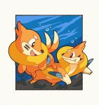 air_bubble brown_eyes bubble buizel closed_mouth eye_contact fang fang_out floatzel gen_4_pokemon looking_at_another no_humans open_mouth panmimi paws pokemon pokemon_(creature) smile toes tongue underwater