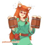 1girl alcohol animal_ears cup drunk fang holding holding_cup holo long_hair looking_at_viewer open_mouth orange_hair patreon_username red_eyes rtil smile solo spice_and_wolf tail watermark web_address wolf_ears wolf_girl wolf_tail