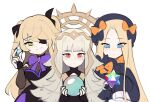 3girls abigail_williams_(fate) artist_name black_bow black_dress black_eyepatch black_gloves black_headwear black_ribbon blonde_hair blue_eyes bodystocking bow bowtie closed_mouth commentary crossover crown detached_sleeves dress english_commentary eyebrows_visible_through_hair eyepatch fate/grand_order fate_(series) fingerless_gloves fire_emblem fire_emblem_heroes fischl_(genshin_impact) fishnets forehead genshin_impact gloves green_eyes grey_hair hair_bow hair_ornament hair_ribbon hat headpiece highres holding lazymimium long_hair long_sleeves looking_at_viewer looking_down multiple_girls open_mouth orange_bow orb primogem purple_bow purple_neckwear red_eyes ribbon saint_quartz see-through signature simple_background sleeves_past_fingers sleeves_past_wrists smile teeth twitter_username two_side_up veronica_(fire_emblem) very_long_hair watermark white_background