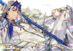 1boy alternate_color armor belt blue_hair bodysuit closed_mouth cosplay crescent cu_chulainn_(fate)_(all) earrings english_text fate/grand_order fate/stay_night fate_(series) g0ringo gae_bolg_(fate) gloves hand_on_own_knee jewelry lancer long_hair looking_at_viewer male_focus nero_claudius_(bride)_(fate) nero_claudius_(bride)_(fate)_(cosplay) nero_claudius_(fate)_(all) one_eye_closed reclining red_eyes shoulder_armor simple_background smile solo white_background white_bodysuit white_gloves white_theme