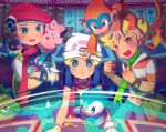 1girl 2boys :d backpack bag bangs barry_(pokemon) beanie berry_(pokemon) black_hair black_vest blonde_hair blue_eyes blue_hair blush blush_stickers bracelet casino cd chair chatot clefairy clenched_hands closed_mouth coin collared_shirt commentary_request crossed_arms dawn_(pokemon) fang fiery_tail gen_1_pokemon gen_4_pokemon green_eyes green_scarf grotle hair_ornament hands_up happy hat highres indoors iroidori4422 jewelry leaning_forward long_hair looking_at_another looking_at_viewer looking_down lucas_(pokemon) monferno multiple_boys number on_chair on_head on_shoulder open_mouth orange_eyes outstretched_arms pants pikachu pink_scarf piplup poke_ball_print pokemon pokemon_(creature) pokemon_(game) pokemon_dppt pokemon_on_head pokemon_on_shoulder poketch red_headwear red_scarf scarf shirt short_hair short_sleeves sitting sleeveless slot_machine smile standing star_(symbol) striped striped_shirt tail vest watch watch white_headwear white_shirt