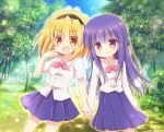 aquaroom black_hairband blonde_hair blue_skirt bow breasts eyebrows_visible_through_hair feet_out_of_frame furude_rika hairband higurashi_no_naku_koro_ni holding_hands houjou_satoko long_hair nature open_mouth pink_bow purple_hair red_eyes school_uniform shirt short_hair skirt small_breasts smile sparkle violet_eyes white_shirt