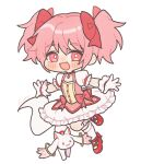 1girl :d ankle_ribbon black_outline buttons chibi choker collarbone creature cross-laced_footwear eyebrows_visible_through_hair feet_up flat_chest frilled_skirt frilled_sleeves frills full_body gloves hair_between_eyes hair_ribbon happy hn_(artist) kaname_madoka kyubey light_blush looking_at_viewer mahou_shoujo_madoka_magica no_nose open_mouth outline outstretched_arms pink_eyes pink_hair pink_ribbon puffy_short_sleeves puffy_sleeves red_choker red_footwear ribbon shiny shiny_hair shoes short_sleeves signature simple_background skirt smile socks solo soul_gem tareme twintails white_background white_gloves white_legwear white_skirt