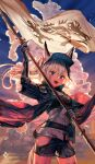 1girl :d a0lp animal_ears arknights arm_guards arm_up artist_name bangs belt_pouch black_jacket black_shorts breasts clothing_cutout clouds commentary english_commentary flag grani_(arknights) grey_hair grey_shirt highres holding holding_flag horse_ears horse_girl horse_tail jacket long_hair looking_at_viewer open_clothes open_jacket open_mouth ponytail pouch shirt short_shorts shorts sky small_breasts smile solo standing tail teeth thigh_cutout violet_eyes visor_cap