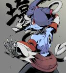 1girl 770mk back black_neckwear blue_skin bone colored_skin decay fighting_stance grey_background hair_over_one_eye leviathan_(skullgirls) martial_arts red_eyes shading skeletal_arm skeletal_tail skullgirls sleeves squigly_(skullgirls) stitched_mouth stitches striped_sleeves tail twitter_username zombie