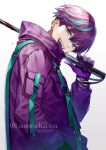 1boy :d aqua_eyes aqua_hair bangs blood ear_piercing fangs from_side gloves gradient gradient_background grey_background hair_between_eyes hand_up high_collar holding jacket long_sleeves looking_at_viewer looking_to_the_side male_focus multicolored_hair open_mouth original piercing puffy_long_sleeves puffy_sleeves purple_gloves purple_hair purple_jacket ryuuki_(hydrangea) smile solo streaked_hair twitter_username upper_body upper_teeth white_background