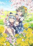 2girls :d alternate_wings bare_legs barefoot bloomers blue_bow blue_dress blue_eyes blue_hair blue_ribbon blurry blurry_foreground blush bow bug butterfly butterfly_wings cherry_blossoms cirno clover clover_(flower) daiyousei day dress dress_shirt field flower flower_field flower_necklace flower_request flower_wreath frilled_sleeves frills green_hair hair_bow hair_flower hair_ornament half_updo hands_on_another's_head head_wreath highres ice ice_wings insect jewelry knees_together_feet_apart light_blue_eyes light_blue_hair long_sleeves medium_hair mountainous_horizon multiple_girls neck_ribbon necklace open_mouth outdoors puffy_short_sleeves puffy_sleeves purple_flower putting_on_headwear raised_eyebrows red_neckwear red_ribbon ribbon shirt short_hair short_sleeves side_ponytail sitting sky smile sparkle surprised symbol_commentary touhou toutenkou transparent_wings underwear white_butterfly white_flower white_shirt wide-eyed wing_collar wings wrist_cuffs yellow_bow yellow_flower yellow_neckwear