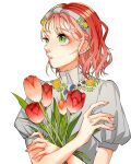 1girl bangs flower green_eyes hands_up highres leaf medium_hair mole mole_under_eye mole_under_mouth moru0308 orange_flower original parted_lips plant puffy_short_sleeves puffy_sleeves red_flower redhead short_sleeves simple_background solo upper_body white_background