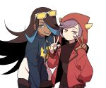 2girls alternate_costume blue_hair bright_pupils brown_hair closed_mouth courtney_(pokemon) dark_skin dark_skinned_female eyelashes eyeshadow fake_horns grey_eyeshadow hair_over_one_eye hand_up hood hooded_jacket horns jacket lipstick long_hair looking_at_viewer makeup multicolored_hair multiple_girls open_clothes open_jacket pokemon pokemon_(game) pokemon_oras shelly_(pokemon) smile ssalbulre sunglasses team_aqua team_magma teeth two-tone_hair w white-framed_eyewear yellow-tinted_eyewear zipper_pull_tab