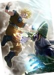 2boys bangs blonde_hair blue_eyes boots cell_(dragon_ball) clenched_hand clenched_teeth commentary_request dirty dirty_arm dirty_face dragon_ball dragon_ball_z energy_ball eye_contact fighting glowing highres korean_commentary looking_at_another male_focus motion_blur multiple_boys open_mouth orange_pants perfect_cell sash son_goku soy_chicken spiky_hair teeth wristband