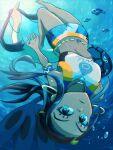 1girl air_bubble armlet bare_shoulders barefoot belly_chain bike_shorts black_hair blue_eyes blue_eyeshadow blue_hair blue_shorts breasts bubble closed_mouth commentary_request crop_top dark_skin dark_skinned_female earrings eyeshadow freediving full_body gen_3_pokemon gen_7_pokemon gym_leader hair_bun highres hoop_earrings jelicle_yasuda jewelry light_rays long_hair looking_at_viewer makeup medium_breasts midriff milotic multicolored_hair navel necklace nessa_(pokemon) number ocean pokemon pokemon_(creature) pokemon_(game) pokemon_swsh shorts sidelocks solo_focus swimsuit tank_top tankini two-tone_hair underwater upside-down white_tank_top wishiwashi wishiwashi_(solo)