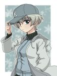 1girl adjusting_clothes adjusting_headwear bangs baseball_cap blue_background blue_eyes blue_headwear blue_jacket border closed_mouth coat commentary_request drawstring frown girls_und_panzer grey_hair hand_in_pocket hat jacket keizoku_military_uniform long_sleeves looking_at_viewer military military_uniform open_clothes open_coat outside_border partial_commentary raglan_sleeves short_hair snowflake_background solo spoilers standing takahashi_kurage track_jacket uniform upper_body white_border white_coat youko_(girls_und_panzer)